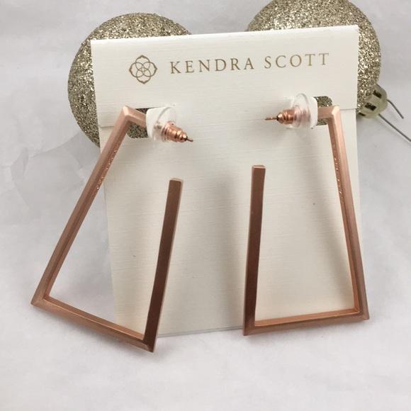 Kendra Scott Signed Easton Hoop Earrings Rose Gold
